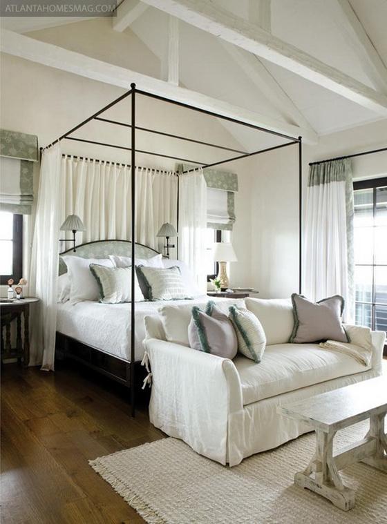 интерьер белой спальни в современном стиле