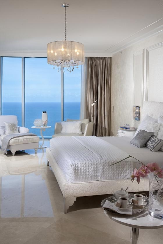 темно белый интерьер спальни