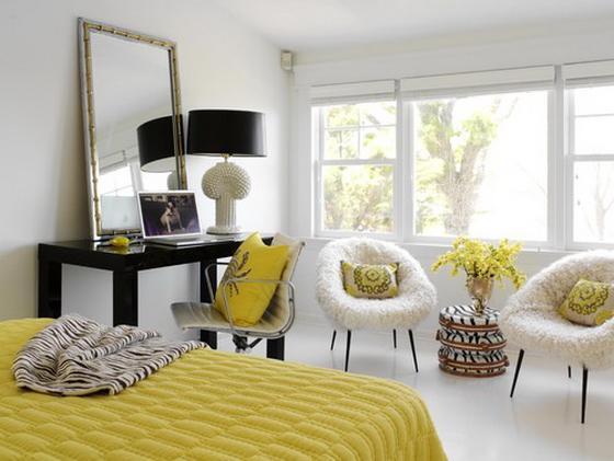белый интерьер маленькой спальни