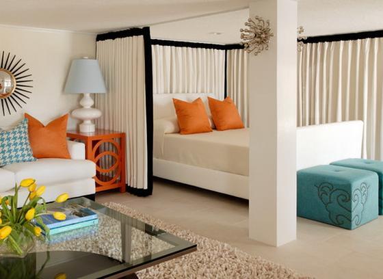 бело зеленый интерьер спальни