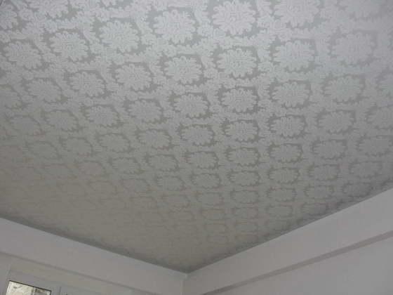 натяжные потолки с узорами в зале фото