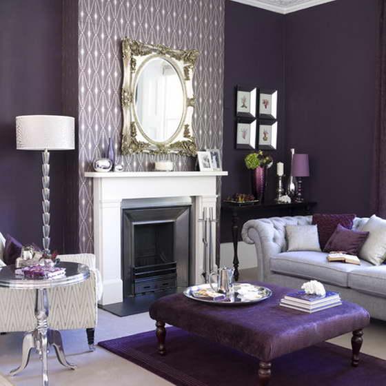 серо фиолетовый цвет в интерьере