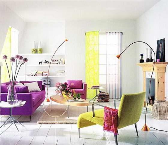 сочетание цветов в интерьере кухни фиолетовый
