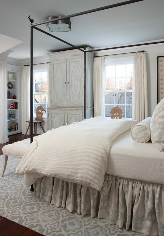 интерьер спальни с белой мебелью фото