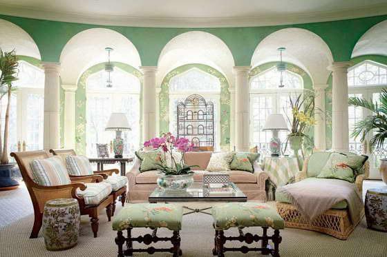 сочетание цветов с зеленым цветом в интерьере